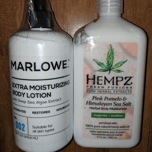 Hempz Body Moisturizer & Marlowe skin Lotion New